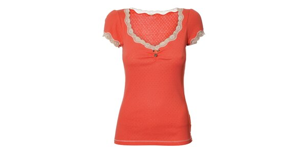 Dámské růžové tričko Vive Maria s krajkou