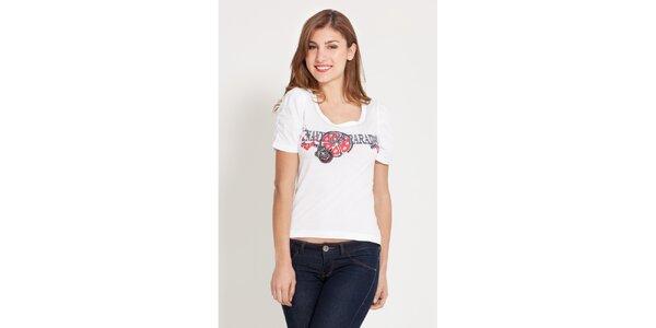 Dámské bílé tričko Lois s potiskem a kamínky