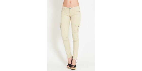 Dámské béžové kalhoty Lois s kapsami