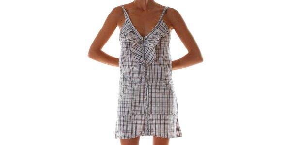 Dámské hnědo-bílé kostkované šaty Diesel