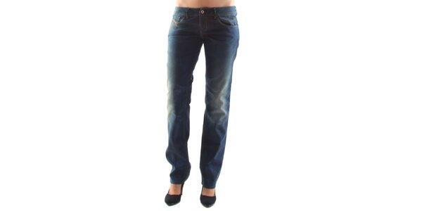 Dámské modré džíny s šisovanými koleny Diesel