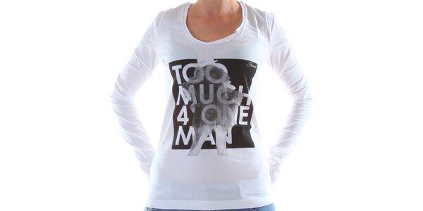 Dámské bílé tričko s dlouhým rukávem a potiskem Diesel