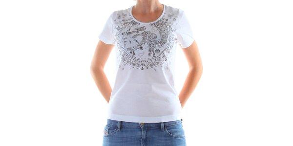 Dámské bílé tričko s potiskem Diesel