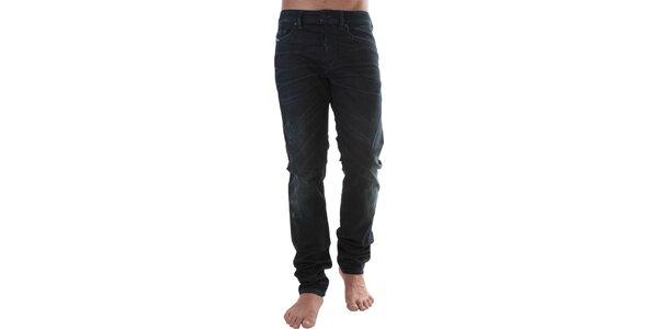 Pánské tmavě modré džíny s šisovanými pruhy Diesel