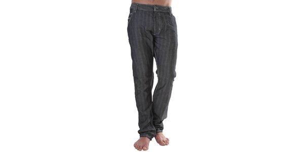 Pánské černé pruhované džíny s příměsí lnu Diesel