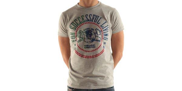 Pánské šedé tričko s potiskem Diesel