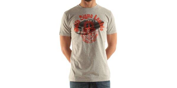 Pánské světle šedé tričko s potiskem Diesel