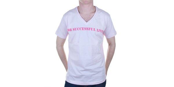 Pánské světle růžové tričko s nápisem Diesel