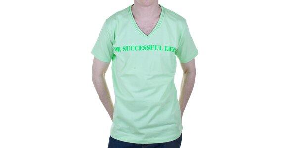 Pánské zelené tričko s nápisem Diesel