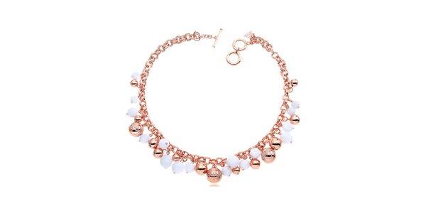 Dámský růžovo-bílý náhrdelník s korálky Guess
