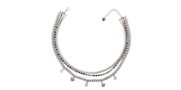 Dámský stříbrný náhrdelník s přívěsky Guess