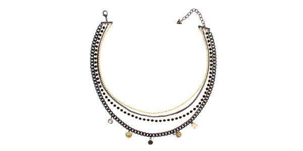 Dámský černo-zlatý náhrdelník s přívěsky Guess