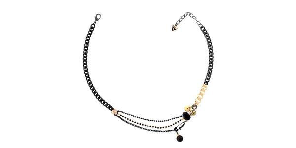 Dámský černo-zlatý náhrdelník Guess