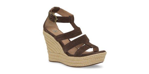 Dámské čokoládové kožené sandálky Ugg s jutovým klínem