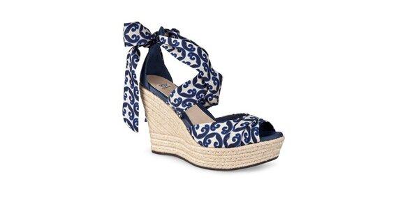 Dámské modro-bílé zavazovací sandálky Ugg