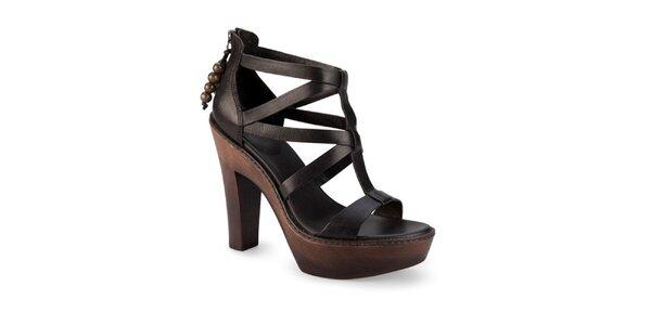 Dámské černé kožené sandály Ugg