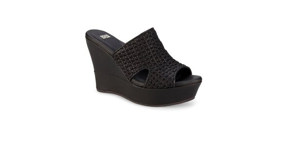 Dámské černé splétané pantofle Ugg na vysokém klínu