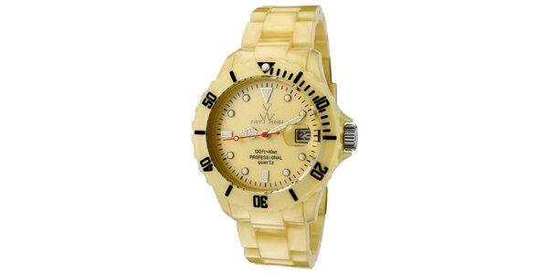 Zlaté plastové hodinky Toy s perleťovým povrchem