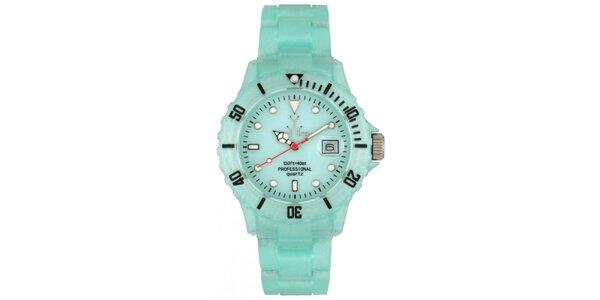 Světle modré plastové hodinky Toy s perleťovým povrchem