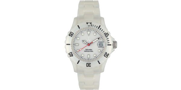Bílé plastové hodinky Toy s perleťovým povrchem