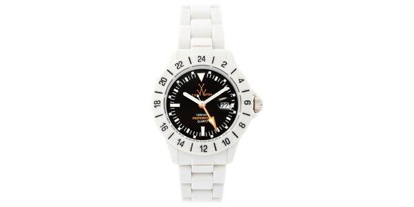 Černo-bílé analogové hodinky Toy