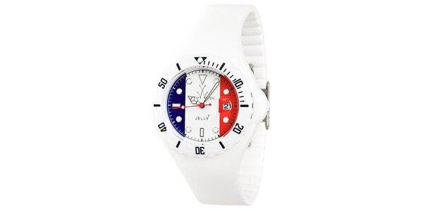 Bílé hodinky Toy s motivem francouzské vlajky a silikonovým páskem