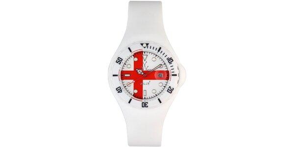 Bílé hodinky Toy s červeným křížem a silikonovým páskem