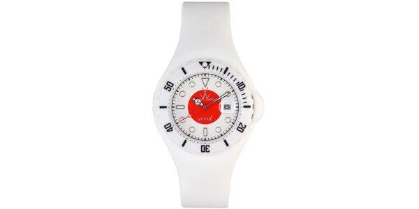 Bílé hodinky Toy s motivem japonské vlajky a silikonovým páskem