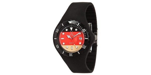Černé hodinky Toy s motivem německé vlajky a silikonovým páskem