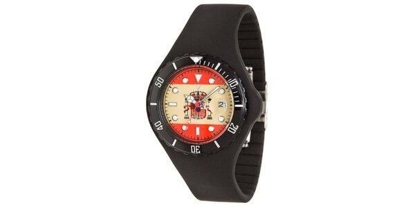 Černé hodinky Toy s motivem španělské vlajky a silikonovým páskem