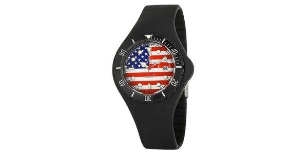 Černé hodinky Toy s motivem americké vlajky a silikonovým páskem