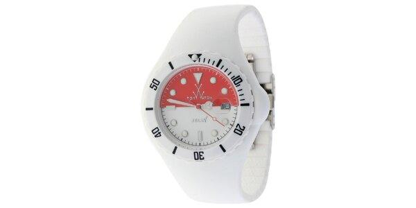 Bílé hodinky Toy s motivem indonéské vlajky a silikonovým páskem
