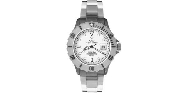 Dámské šedostříbrné plastové hodinky Toy