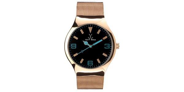 Zlato-růžové analogové hodinky Toy s tyrkysovými detaily