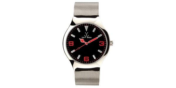 Stříbrné analogové hodinky s červenými detaily Toy