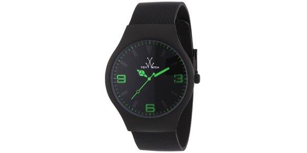 Černé analogové hodinky se zelenými detaily Toy