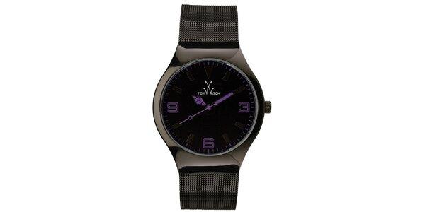 Černé analogové hodinky s fialovými detaily Toy