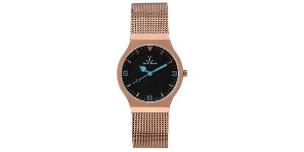 Růžovo-zlaté analogové hodinky s modrými detaily Toy