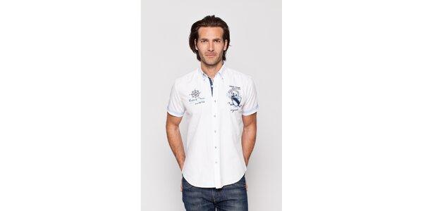 Pánská bílá bavlněná košile Giorgio di Mare s krátkým rukávem