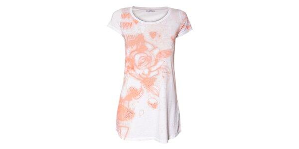 Dámské bílé tričko GAS Jeans s fosforově oranžovým potiskem a třpytivými glitry