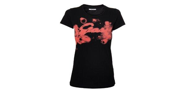 Dámské černé tričko GAS Jeans s růžovým potiskem a glitry