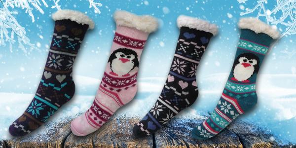 Hřejivé domácí ponožky s různými motivy