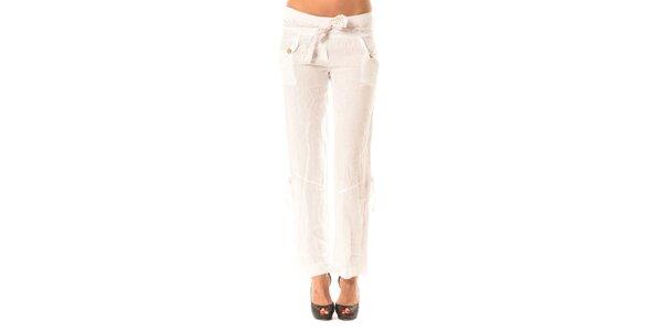 Dámské bílé lněné kalhoty s mašlí Pink Garden