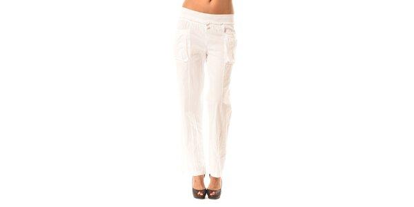 Dámské bílé volné kalhoty Pink Garden