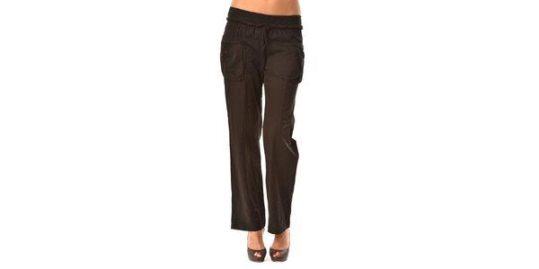 Dámské černé volné kalhoty Pink Garden