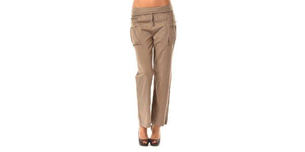 Dámské hnědé volné kalhoty Pink Garden