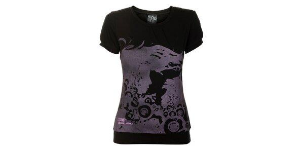 Dámské černé tričko Loap s šedivým potiskem