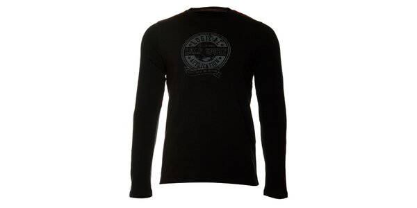 Pánské černé tričko Loap s šedivým potiskem