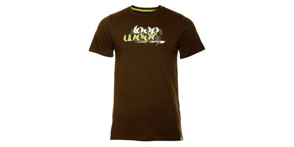 Pánské tmavě hnědé tričko Loap s potiskem