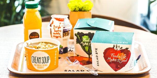 Cokoli z nabídky zdravého občerstvení Salad Box